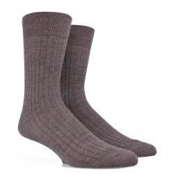 Chaussettes côtelées en laine - Loutre