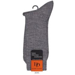 Chaussettes laine côtelées - Gris clair oxford
