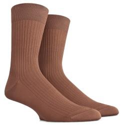 Chaussettes côtelées en fil d'Ecosse - Beige Faon