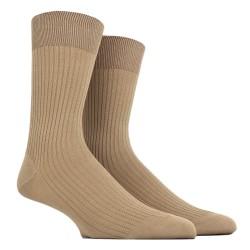 Chaussettes Homme côtelées en pur fil d'Ecosse - Camel