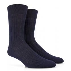 Chaussettes laine bleu marine à côtes