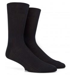 Chaussettes Fil d'Ecosse noires à côtes