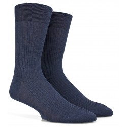 Chaussettes Fil d'Ecosse bleu moyen à côtes