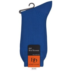 Chaussettes Fil d'Ecosse bleu cosmos à côtes