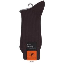 Chaussettes laine marrons à côtes