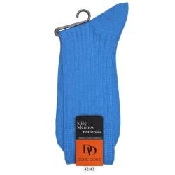 Chaussettes côtelées en laine - Bleu bassin