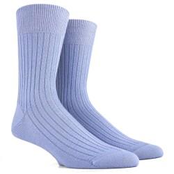 Chaussettes laine côtelées - Bleu ciel