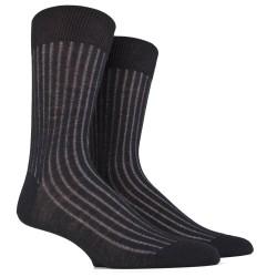 Chaussettes laine côtelées - Bicolore noir et gris