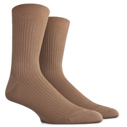 Chaussettes côtelées en pur fil d'Ecosse - Beige Faon