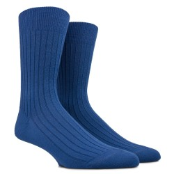 Chaussettes laine côtelées - Bleu Voilier