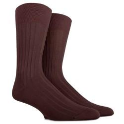 Chaussettes côtelées en pur fil d'écosse - Marron