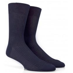 Chaussettes Fil d'Ecosse bleu marine à côtes