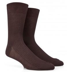 Chaussettes Fil d'Ecosse marron à côtes