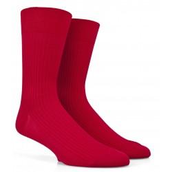Chaussettes Fil d'Ecosse rouges à côtes