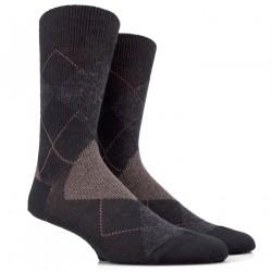 Chaussettes laine jacquard losange noires