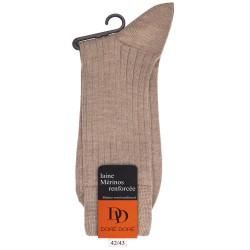 Chaussettes côtelées en laine mérinos - Beige