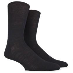 Chaussettes jersey noires en laine